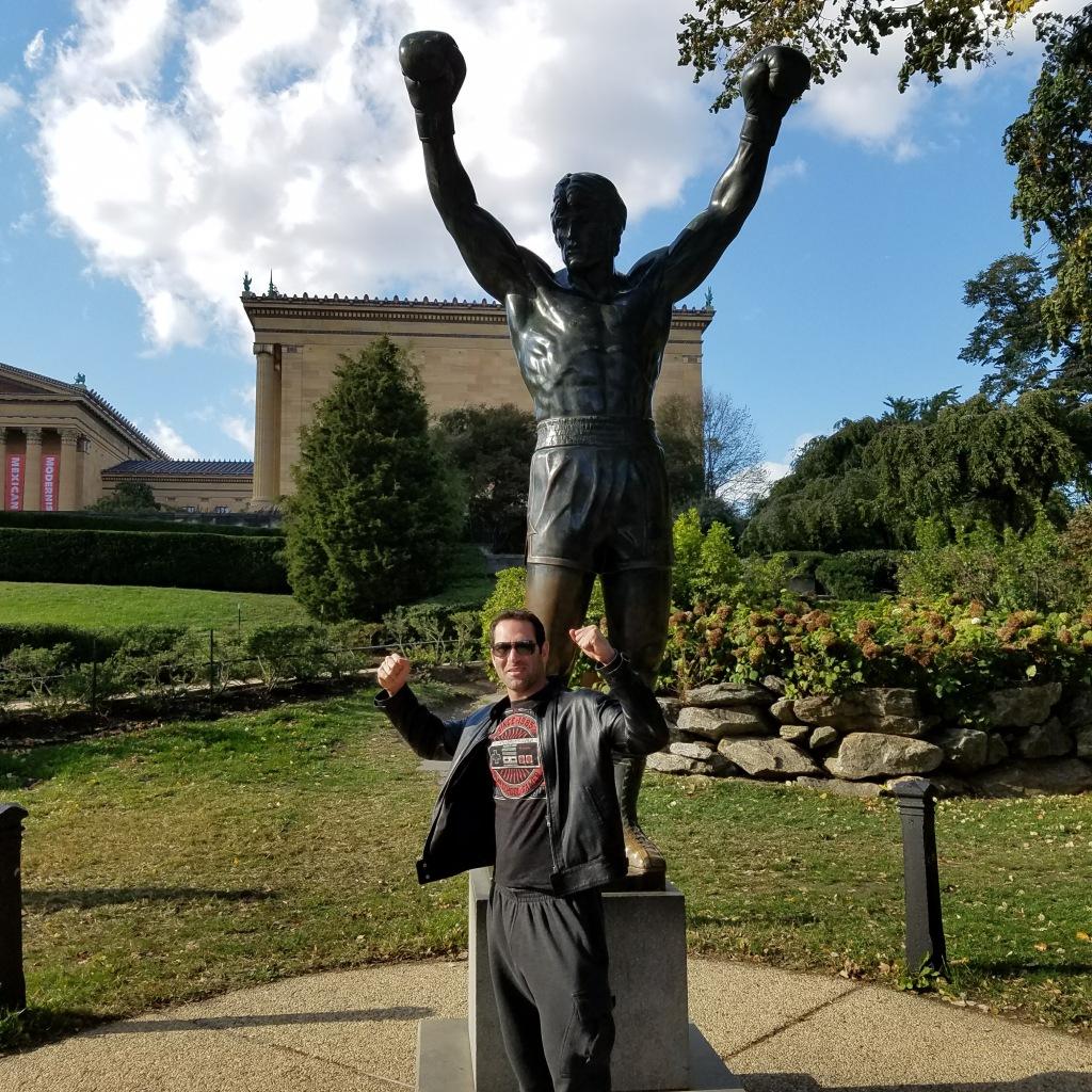 Israel Joffe by Rocky statue