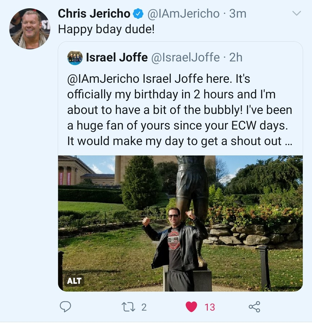Chris Jericho wishes Israel Joffe happy birthday